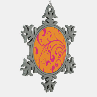 Swirly Hot Pink Snowflake Pewter Christmas Ornament
