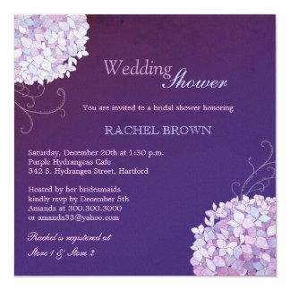 "Swirly Hydrangea Deep Purple Wedding Shower Invite 5.25"" Square Invitation Card"