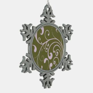 Swirly Lavender Snowflake Pewter Christmas Ornament