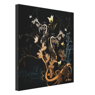 Swirly leaf Flowers Gallery Wrapped Canvas