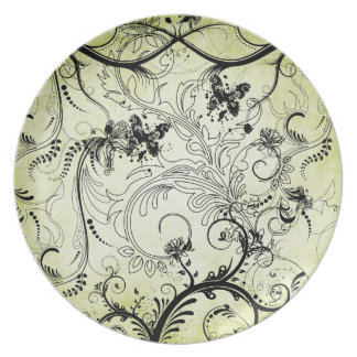 Swirly Leaf Vines Melamine Plate