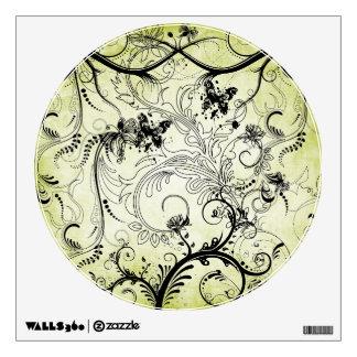 Swirly Leaf Vines Round Wall Decal