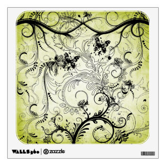 Swirly Leaf Vines Square Wall Decal