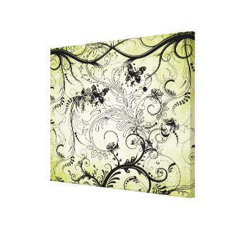 Swirly Leaf Vines Wrapped Canvas Print Stretched Canvas Prints