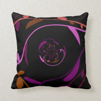 Swirly Leaves - Black Throw Pillow