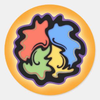 Swirly Line Peace Sign Classic Round Sticker