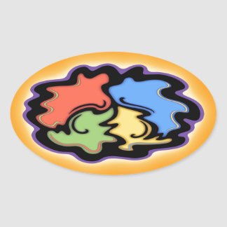 Swirly Line Peace Sign Oval Sticker