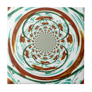 Swirly Lions Wildlife Abstract Pattern Tile