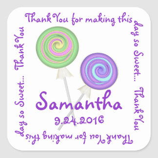 Swirly Lollipops Candy Thank You Square Sticker