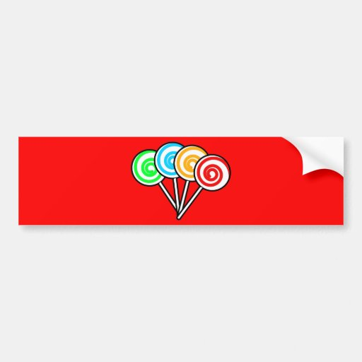 SWIRLY LOLLIPOPS SUCKERS CANDY RED YELLOW GREEN BL BUMPER STICKER