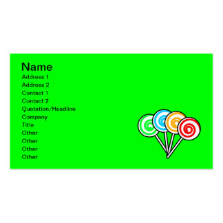 SWIRLY LOLLIPOPS SUCKERS CANDY RED YELLOW GREEN BL BUSINESS CARD TEMPLATES