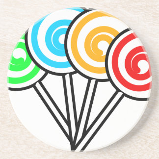 SWIRLY LOLLIPOPS SUCKERS CANDY RED YELLOW GREEN BL DRINK COASTER