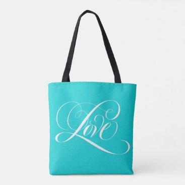 McTiffany Tiffany Aqua Swirly Love Calligraphy Lettering Tiffany Aqua Tote Bag
