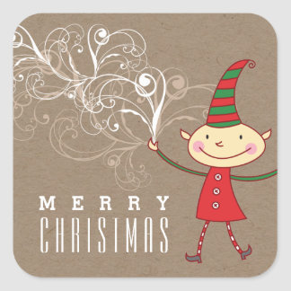 Swirly Magical Cute Christmas Elf Holiday Sticker