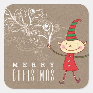 Swirly Magical Cute Christmas Elf Holiday Sticker