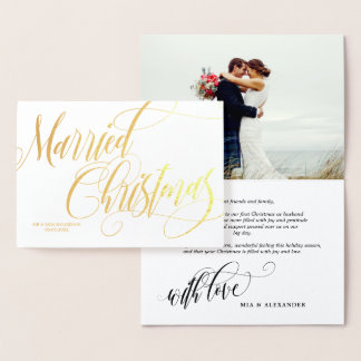 Swirly Married Christmas Wedding Photo Thank You Foil Card
