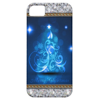 Swirly Merry Christmas Diamonds Abstract In Blue iPhone SE/5/5s Case