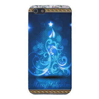 Swirly Merry Christmas Diamonds Abstract In Blue iPhone SE/5/5s Cover