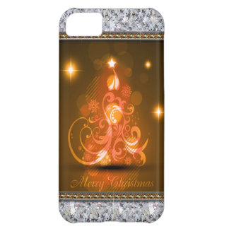Swirly Merry Christmas Diamonds Abstract In Orange Case For iPhone 5C