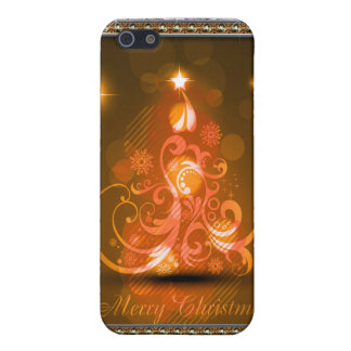 Swirly Merry Christmas Diamonds Abstract In Orange Case For iPhone SE/5/5s