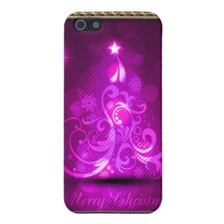 Swirly Merry Christmas Diamonds Abstract In Pink Case For iPhone SE/5/5s