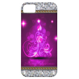 Swirly Merry Christmas Diamonds Abstract In Pink iPhone SE/5/5s Case