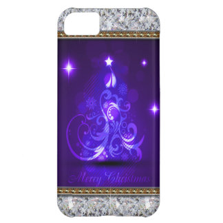 Swirly Merry Christmas Diamonds Abstract In Purple iPhone 5C Cover