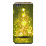 Swirly Merry Christmas Diamonds Abstract In Yellow Case For iPhone 5