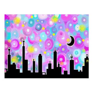 Swirly Metropolis Postcard