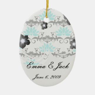 swirly modern aqua white black damask pattern ceramic ornament
