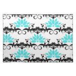 swirly modern aqua white black damask pattern cloth place mat