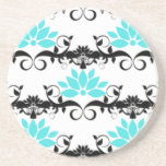 swirly modern aqua white black damask pattern coaster