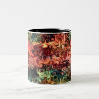 Swirly Modern Art 45.5 Two-Tone Coffee Mug