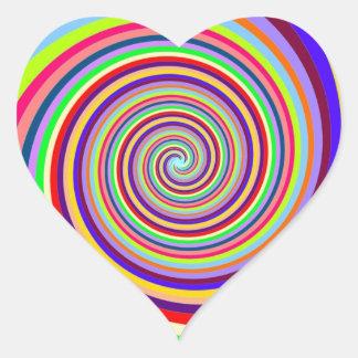 swirly moviéndose a la meta y al éxito pegatina en forma de corazón
