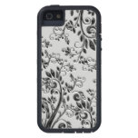 Swirly negro grabado en relieve floral iPhone 5 Case-Mate coberturas