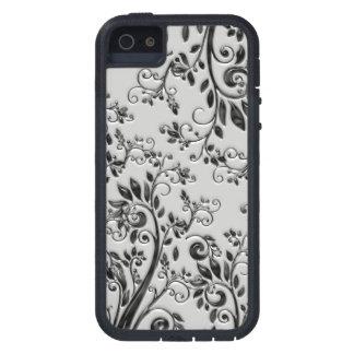 Swirly negro grabado en relieve floral iPhone 5 funda