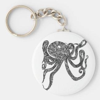 Swirly Octopus Basic Round Button Keychain