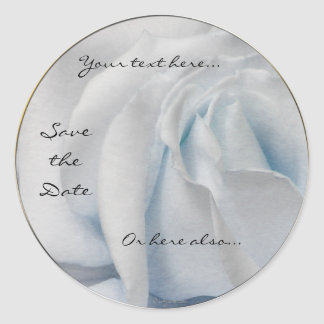 Swirly Pale White and Blue Rose Wedding Stickers Round Stickers