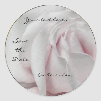 Swirly Pale White and Pink Rose Wedding Stickers Round Stickers