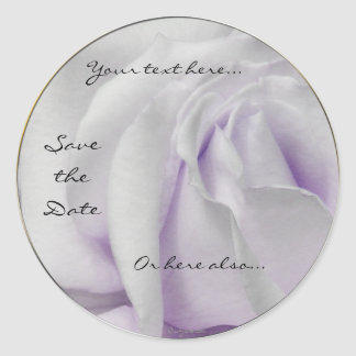 Swirly Pale White and Violet Rose Wedding Stickers Round Stickers