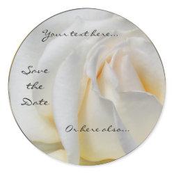 Swirly Pale White and Yellow Rose Wedding Stickers sticker