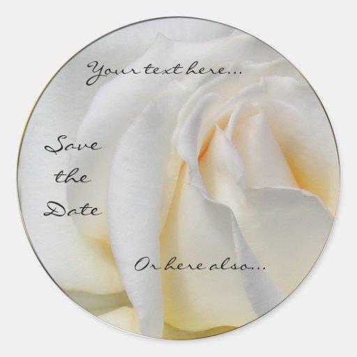 Swirly Pale White and Yellow Rose Wedding Stickers