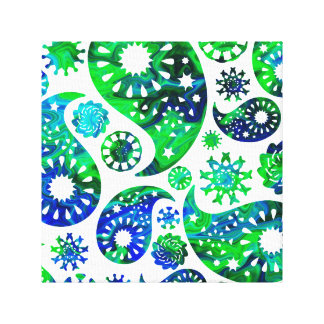 Swirly Pattern Paisley in Green and Blue. Canvas Prints