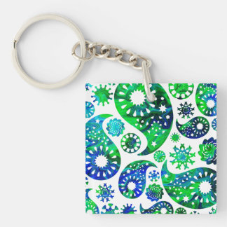 Swirly Pattern Paisley in Green and Blue Acrylic Keychain
