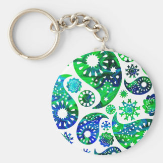 Swirly Pattern Paisley in Green and Blue Key Chain