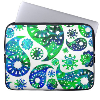 Swirly Pattern Paisley in Green and Blue. Laptop Sleeve