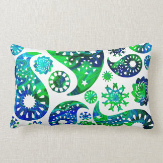 Swirly Pattern Paisley in Green and Blue. Pillow