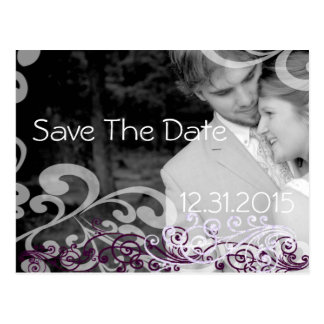 Swirly Photo Save The Date Eggplant & Berry Postcard
