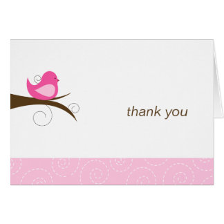 Swirly Pink Bird Note Card Thank You Note Folded