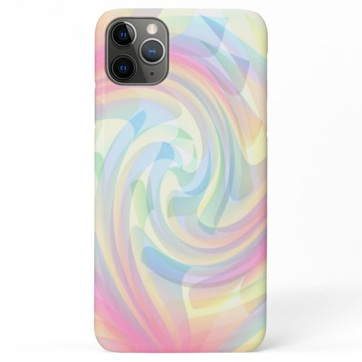 Swirly Pink Blue Yellow Pastel Rainbow Colors iPhone 11 Pro Max Case